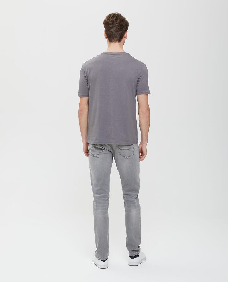 T-shirt in puro cotone in tinta unita grigia