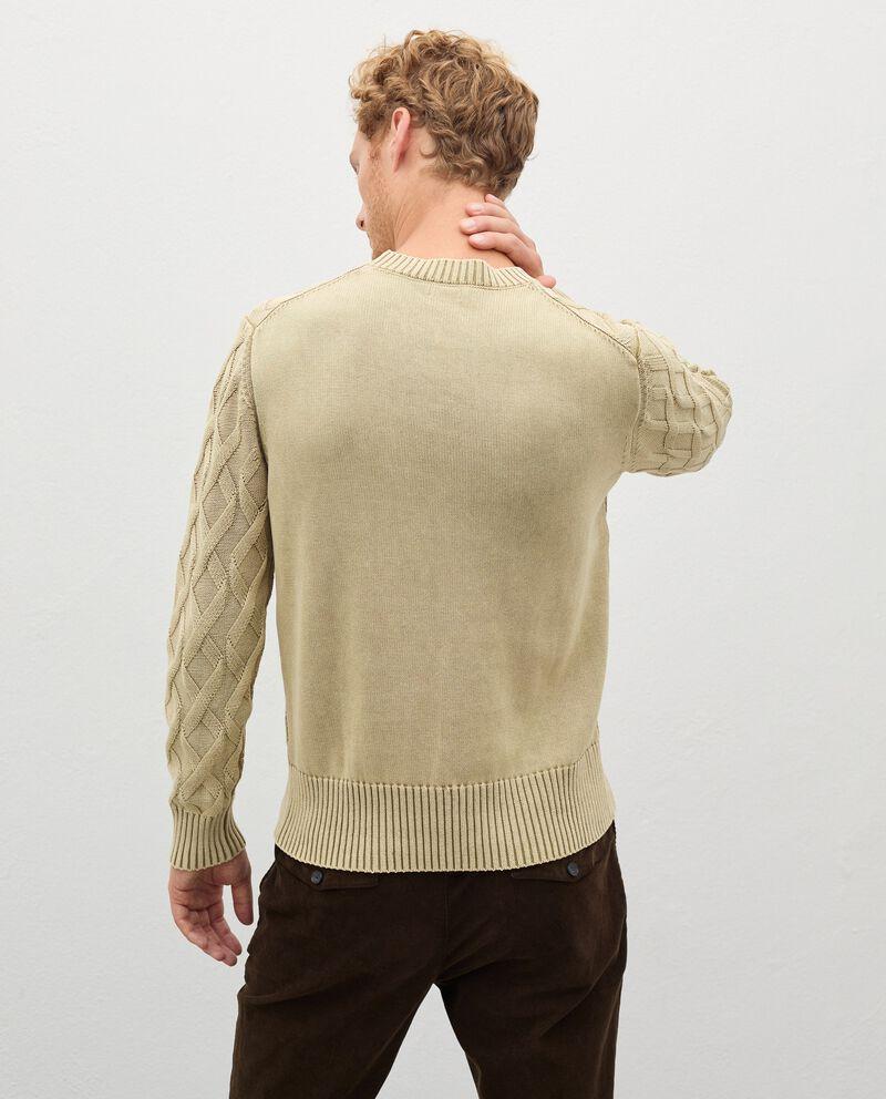 Pullover intrecciato in puro cotone uomo single tile 1