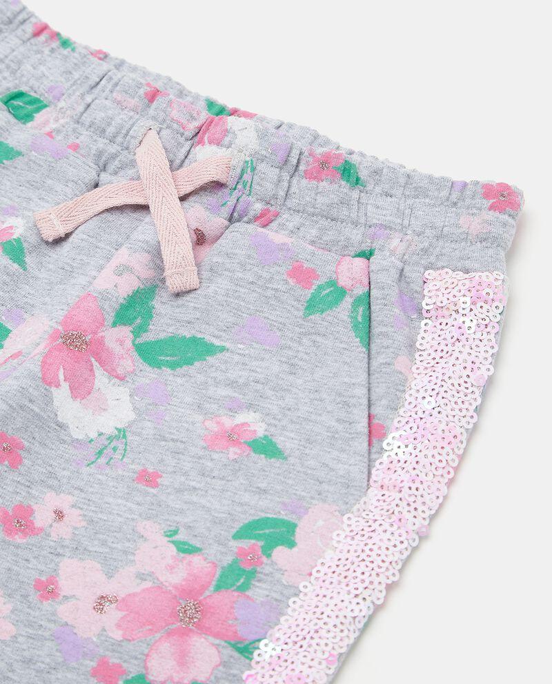 Pantaloni con bande in paillettes di cotone biologico neonata