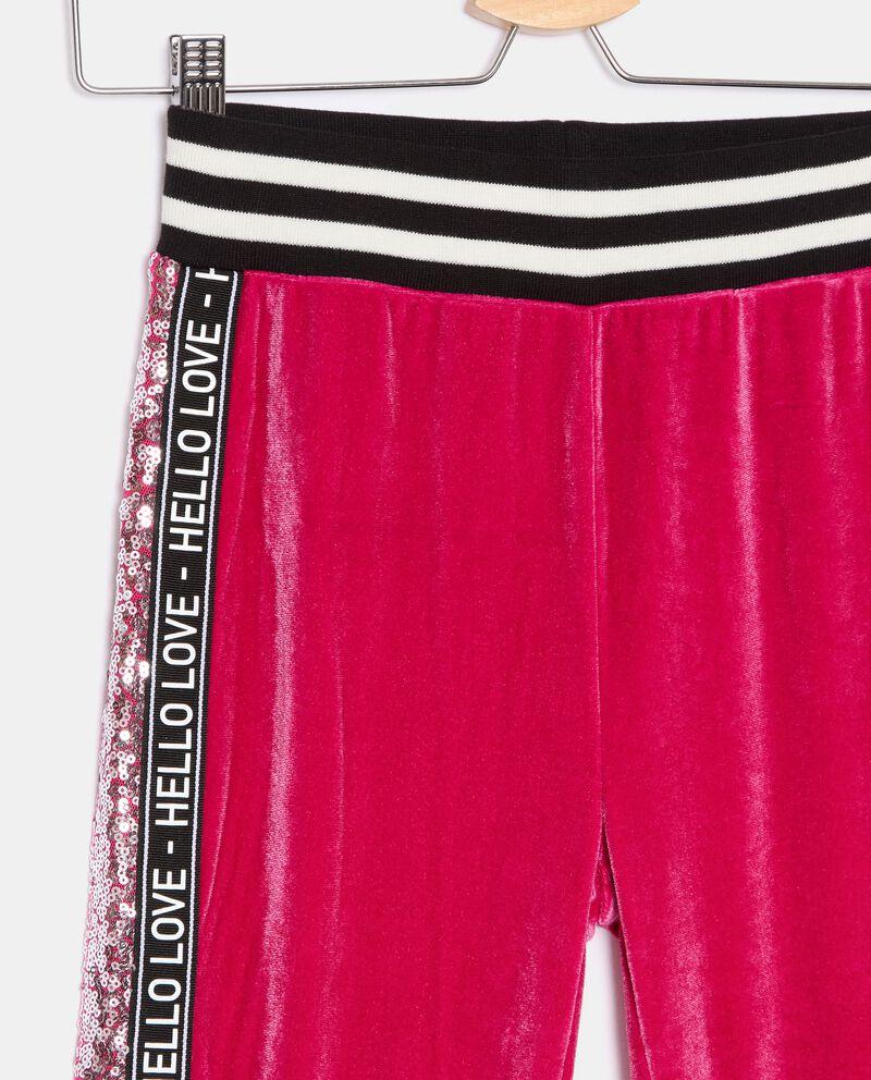 Pantaloni in ciniglia con inserti in paillettes ragazza single tile 1