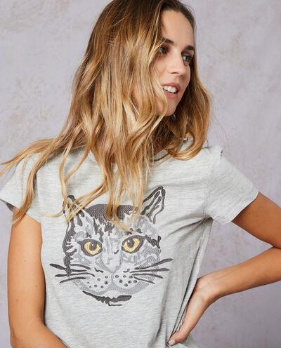 T-shirt mélange con ricamo gatto