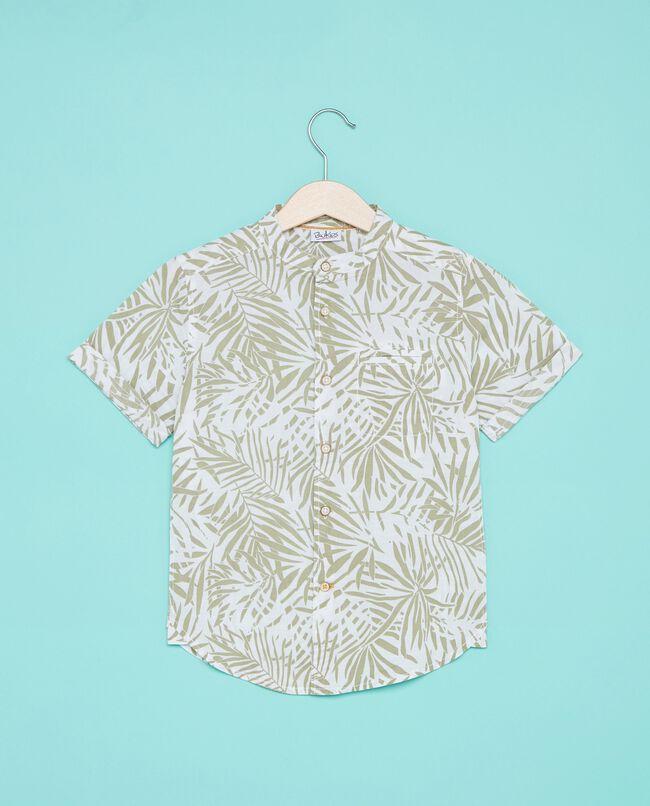 Camicia in puro cotone con fantasia palme neonato