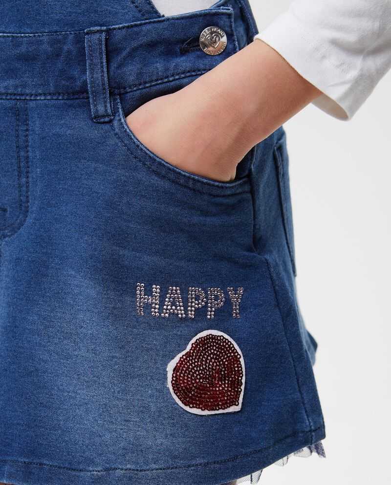Salopette di jeans stretch paillettes