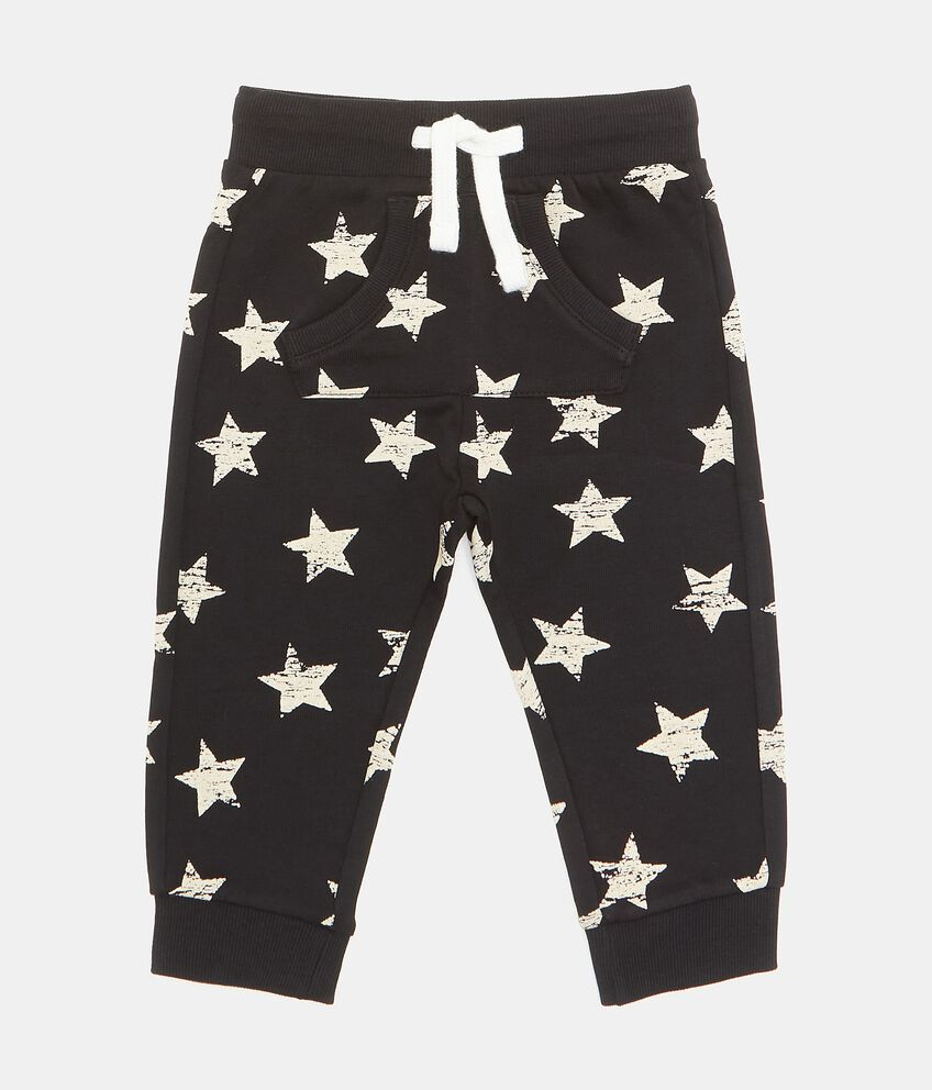 Pantaloni in puro cotone con fantasia stelline neonato double 1