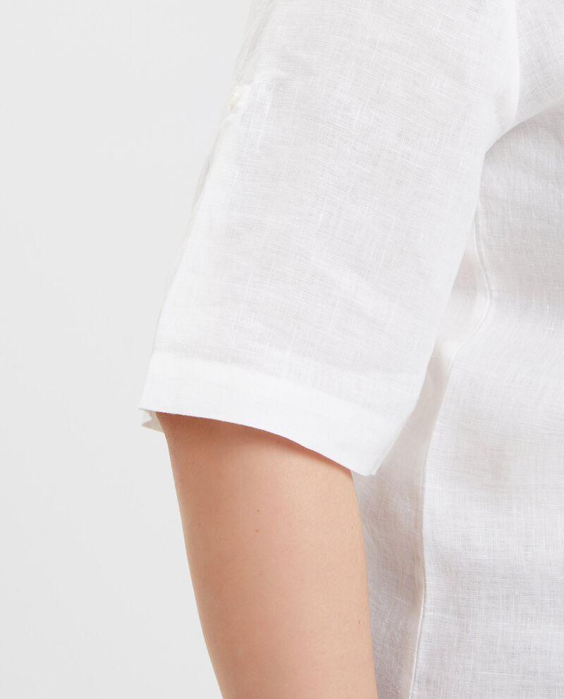 Camicia in puro lino a maniche corte Curvy donna