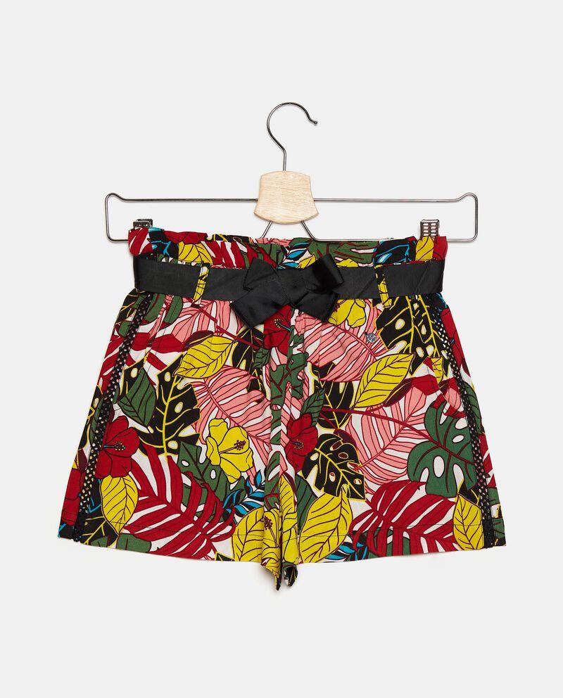 Shorts in viscosa con stampa tropicale ragazza