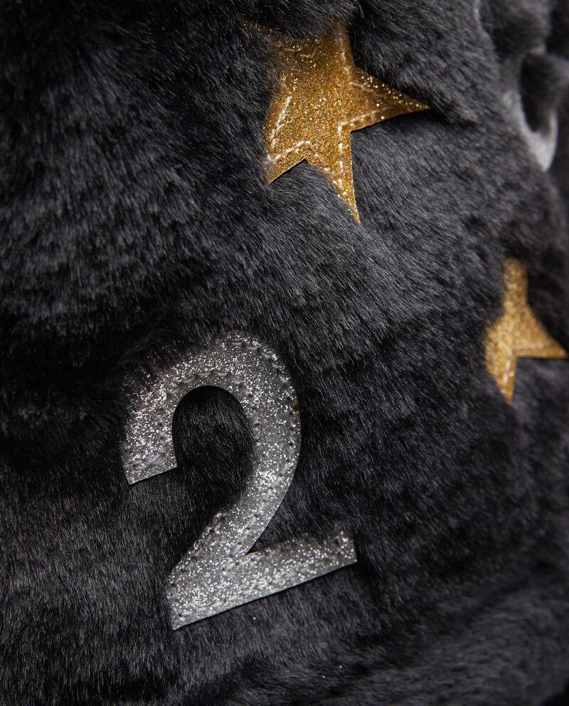 Zaino pelliccetta con patch glitter