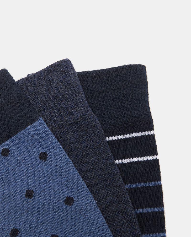 Set tre calze fantasia blu