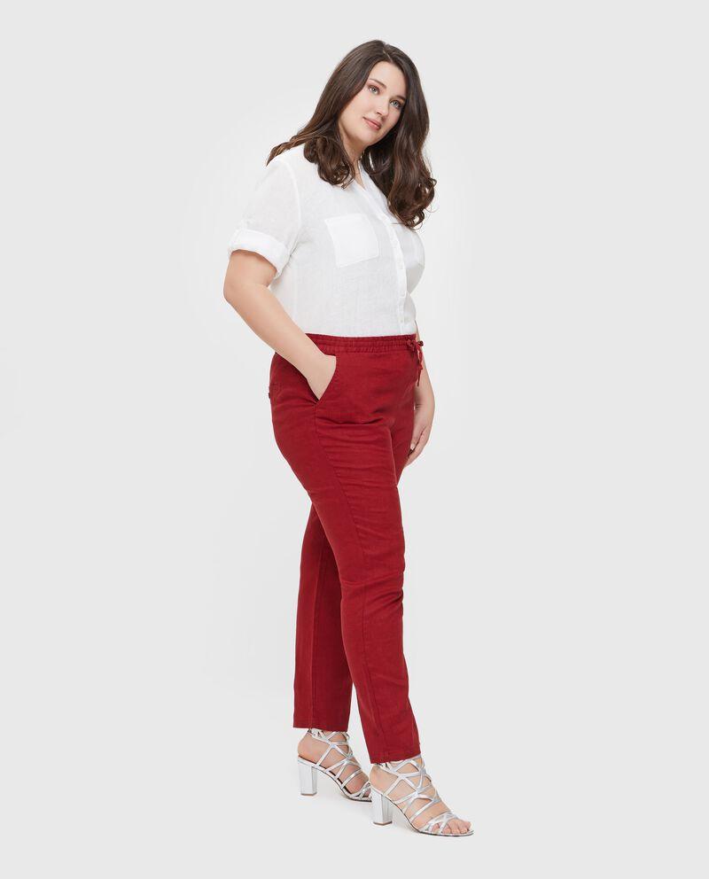 Pantaloni in puro lino tinta unita Curvy donna