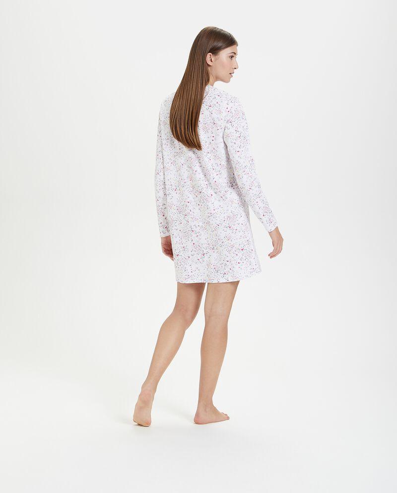Camicia da notte in puro cotone con fantasia floreale