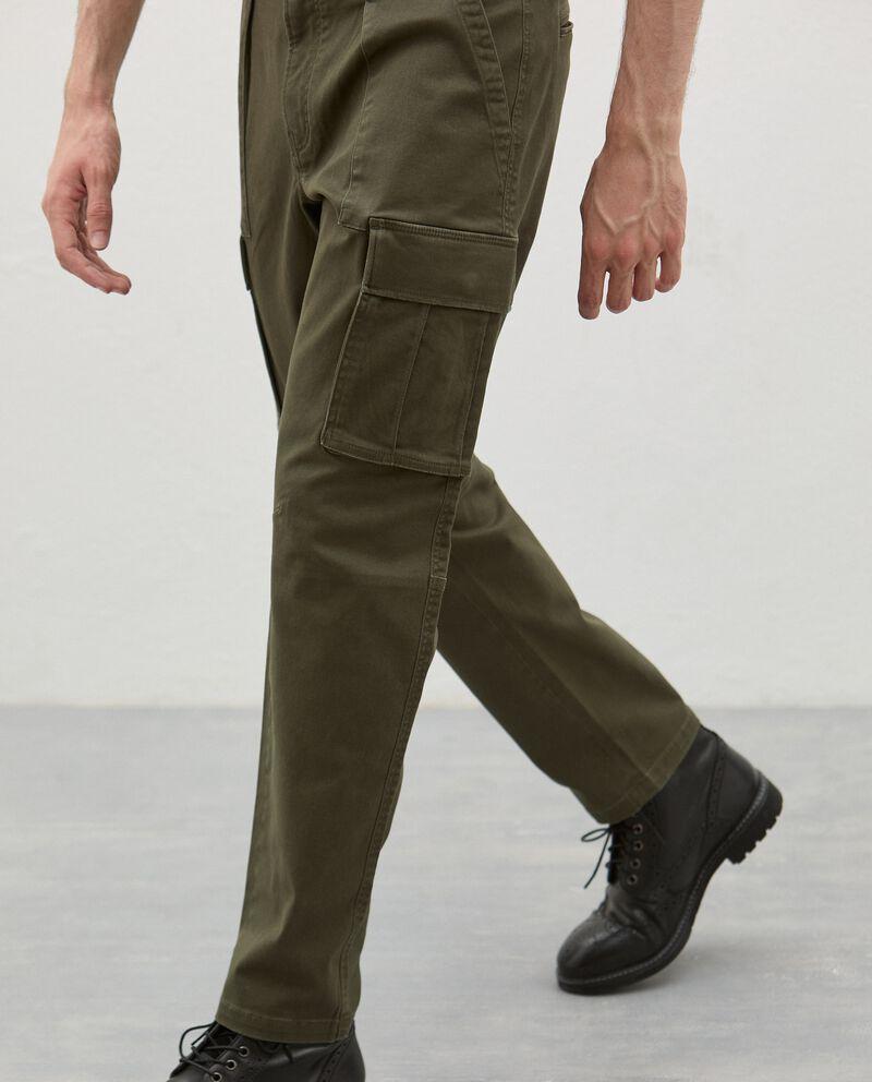 Pantaloni cargo in cotone stretch uomo single tile 2