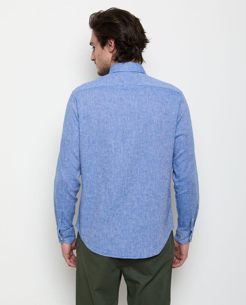 Camicia a maniche lunghe in misto lino uomo