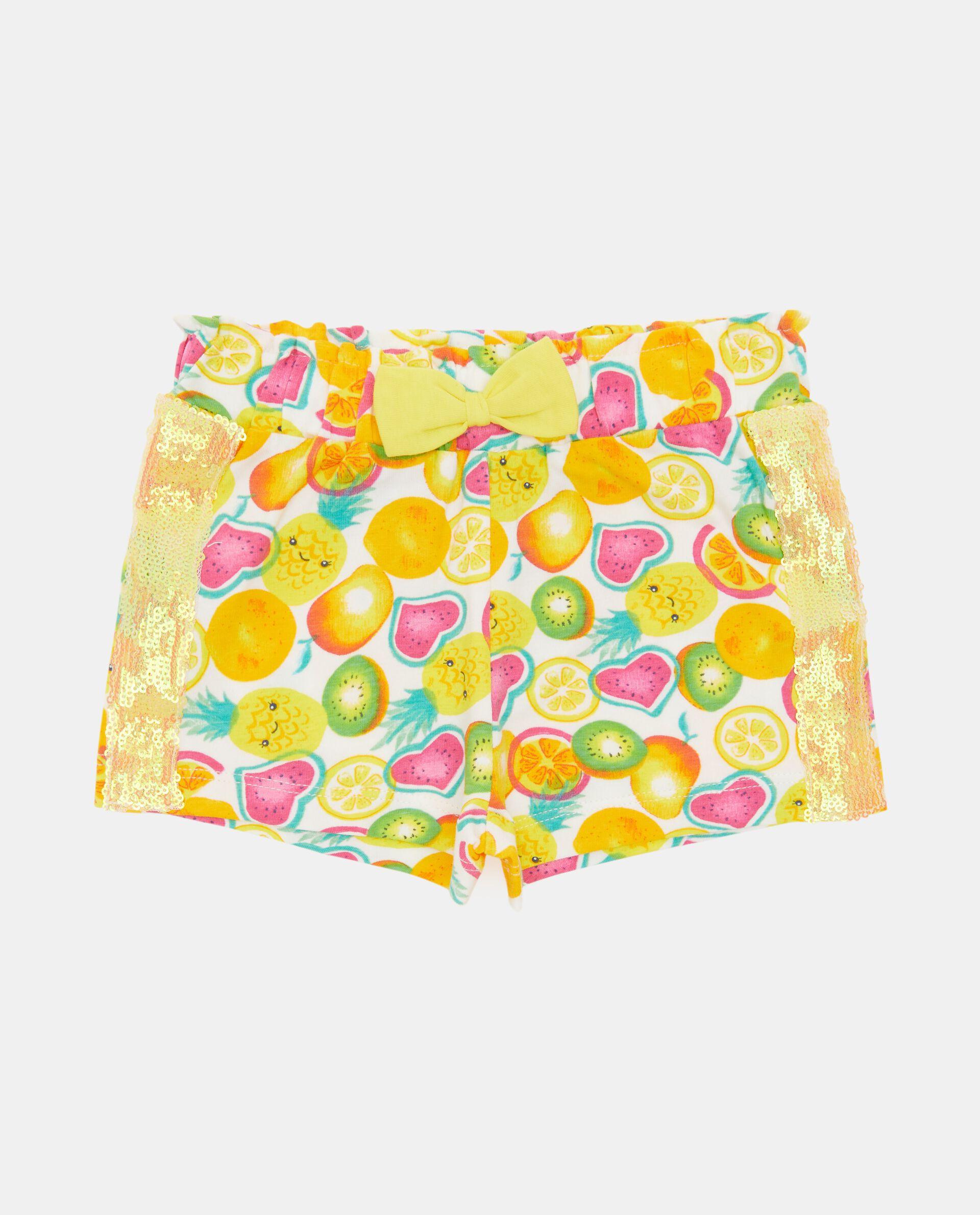 Shorts in fantasia con bande in paillettes