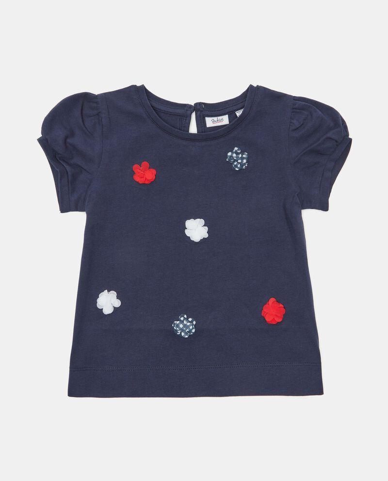 T-shirt in cotone organico con applicazioni fiori neonata
