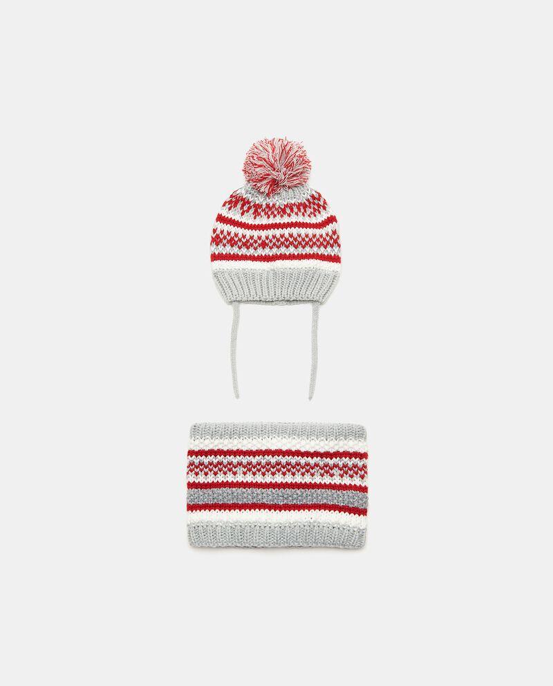 Set con berretto e scaldacollo in fantasia neonata