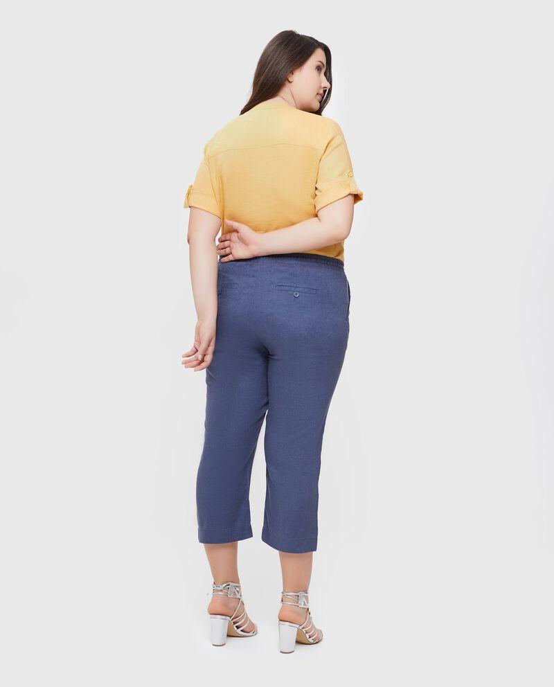 Pantaloni in puro lino modello crop Curvy donna