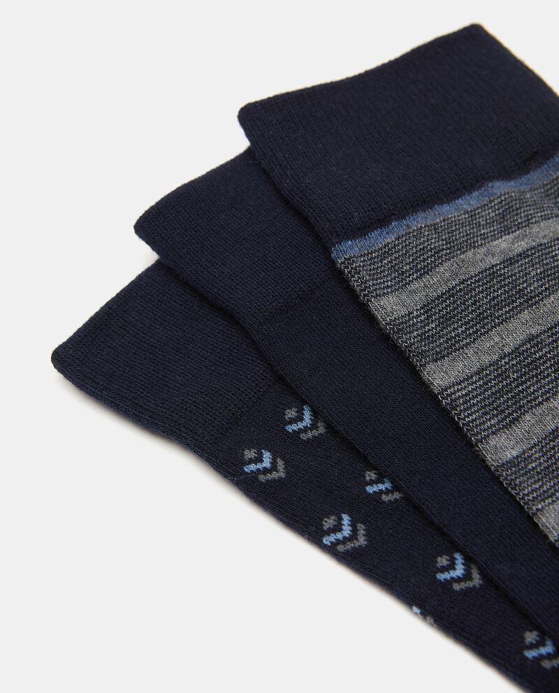 Set con tre paia di calzini in cotone elasticato uomo single tile 1
