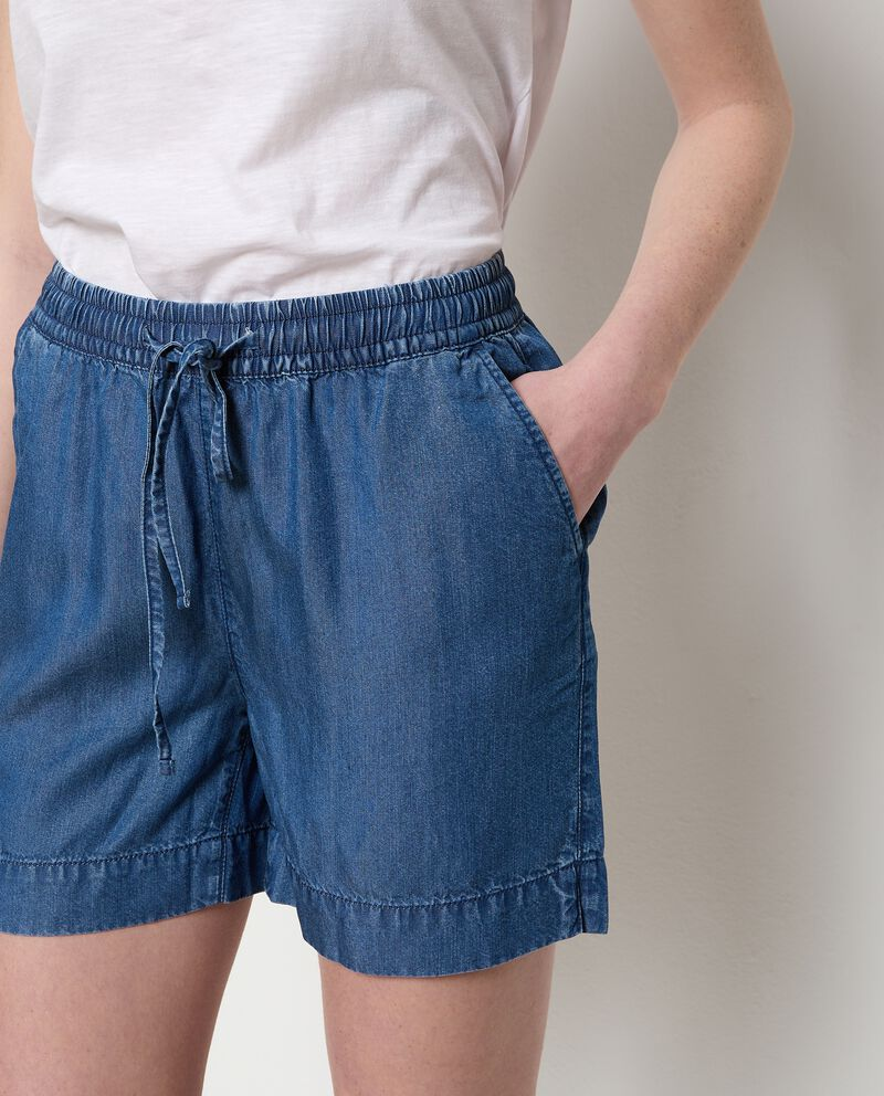 Shorts denim con coulisse donna