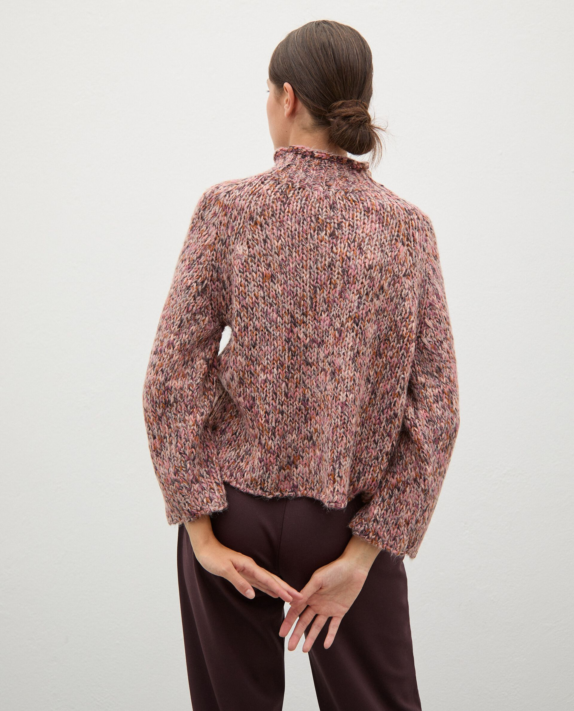 Maglione tricot knitwear con collo alto donna