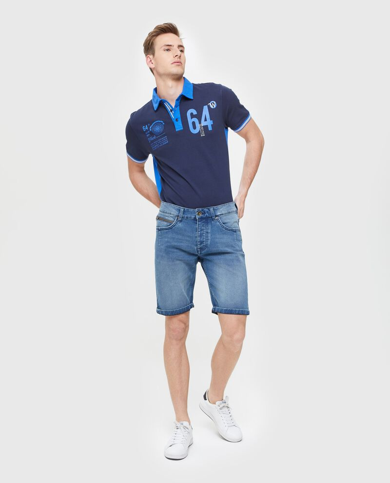 Bermuda jeans uomo slim fit in cotone