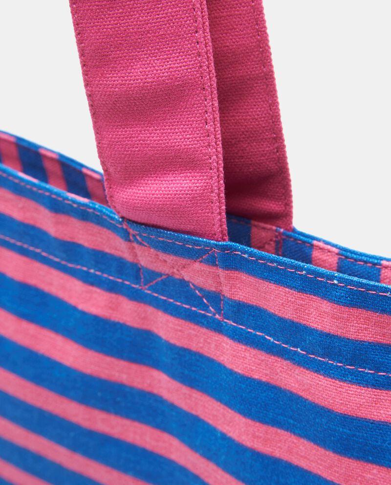 Borsa mare a righe in canvas di cotone donna