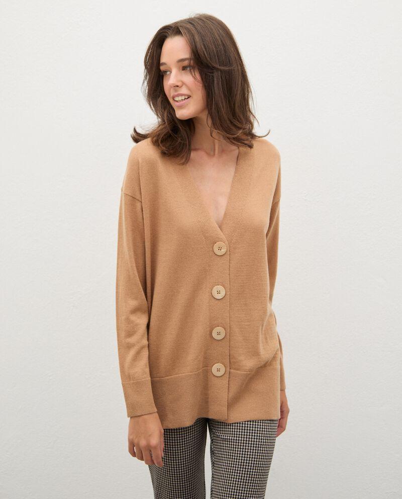 Cardigan tricot in lana con bottoni donna cover