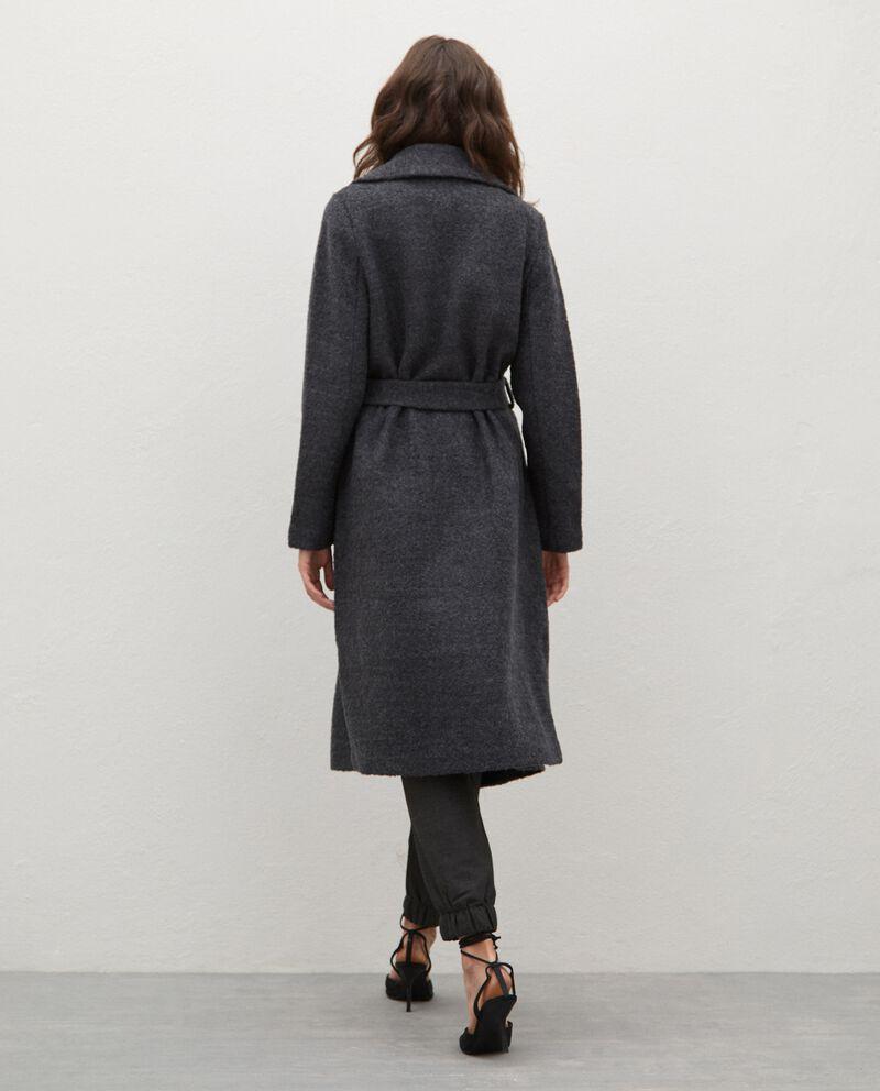 Cappotto in misto lana con cintura donna single tile 1