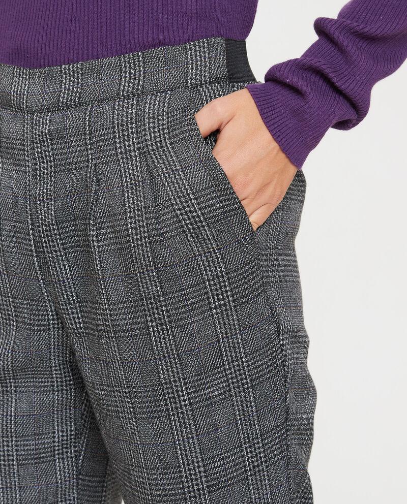 Pantaloni vita elasticata fantasia tartan