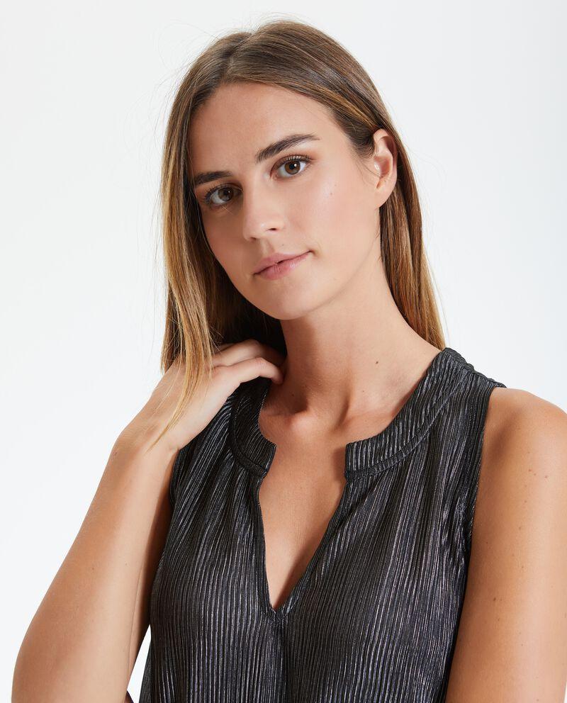 Blusa con plissé laminata donna