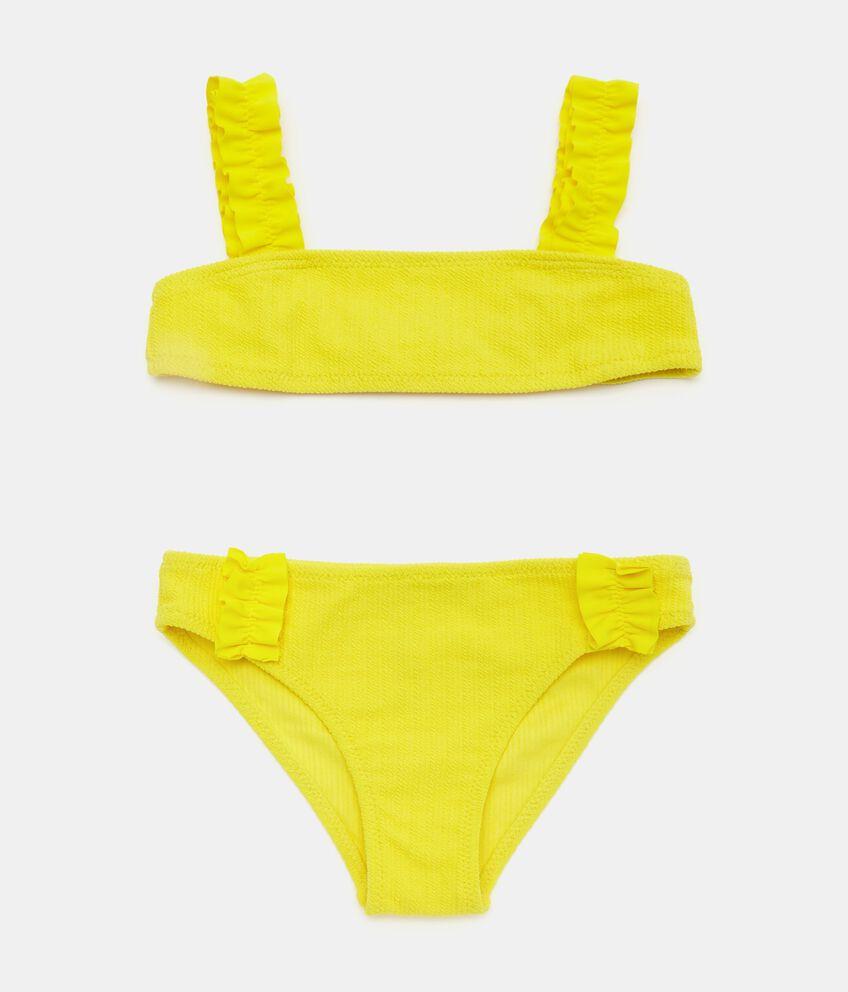 Bikini in tinta unita con spalline arricciate bambina