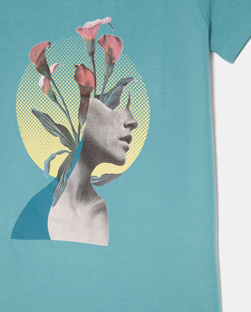 T-shirt fitness con stampa in cotone donna