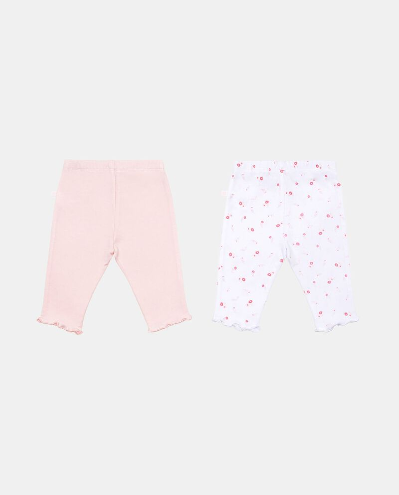 Set due pantaloni tinta unita e floreale