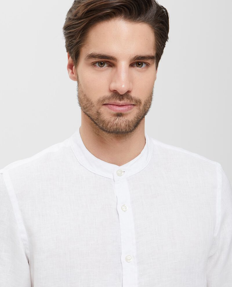 Camicia in puro lino bianca a maniche lunghe uomo