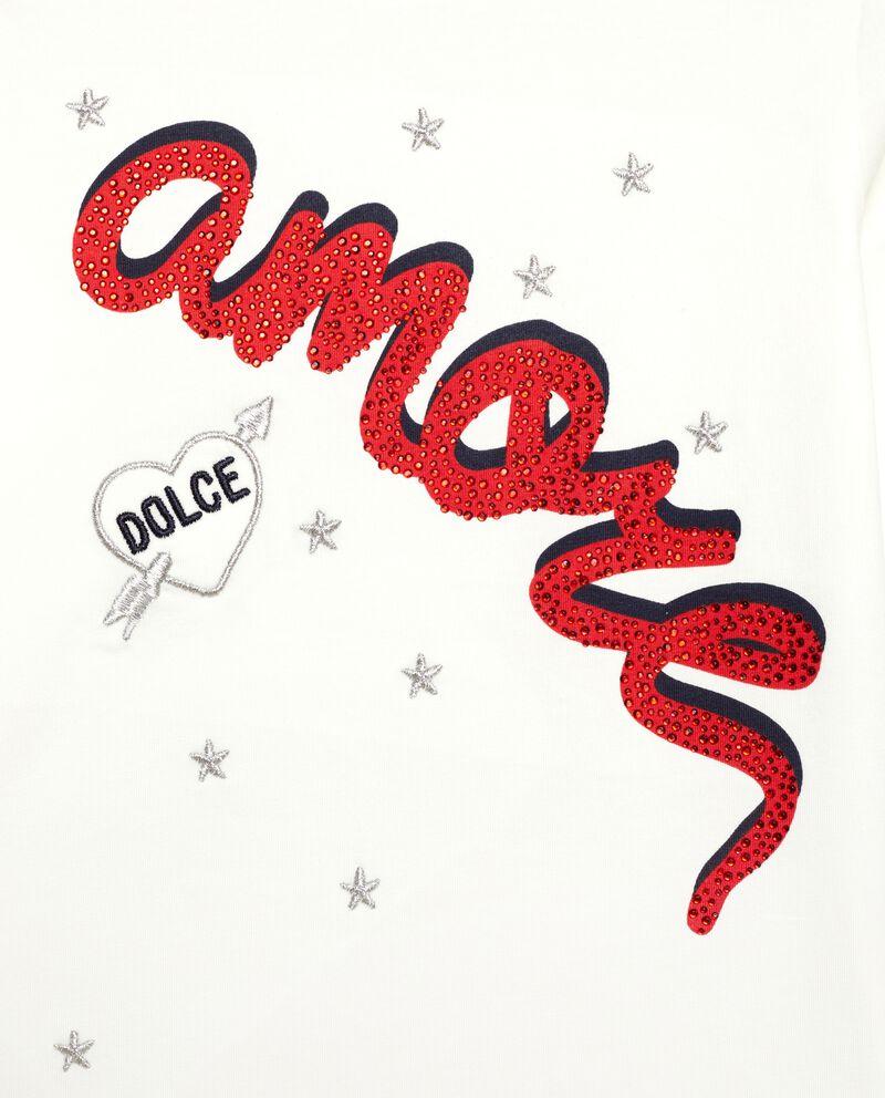 Maglia con lettering in strass bambina
