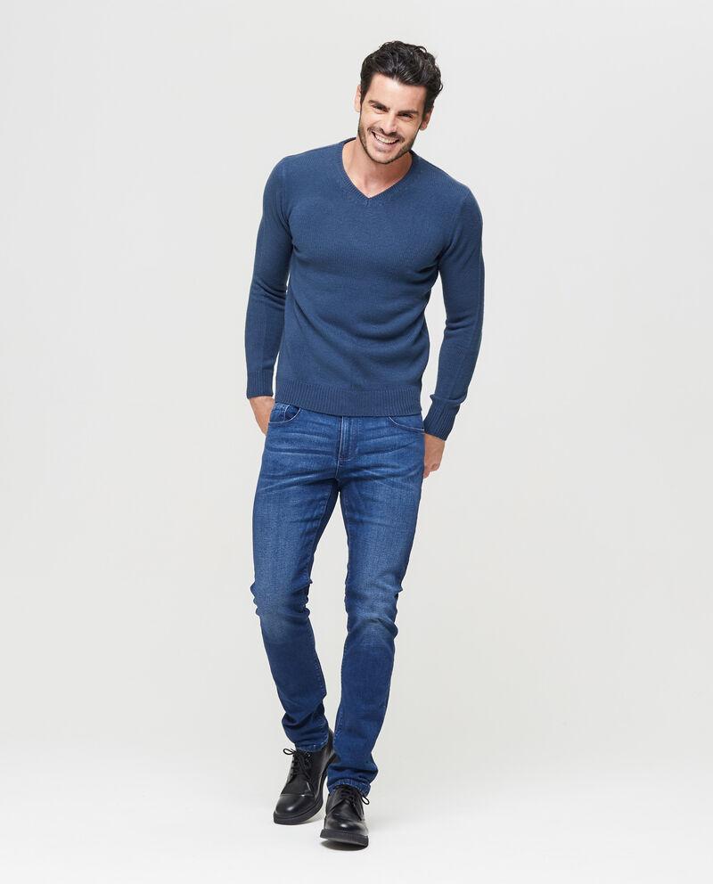 Pullover tricot scollo a V con costina