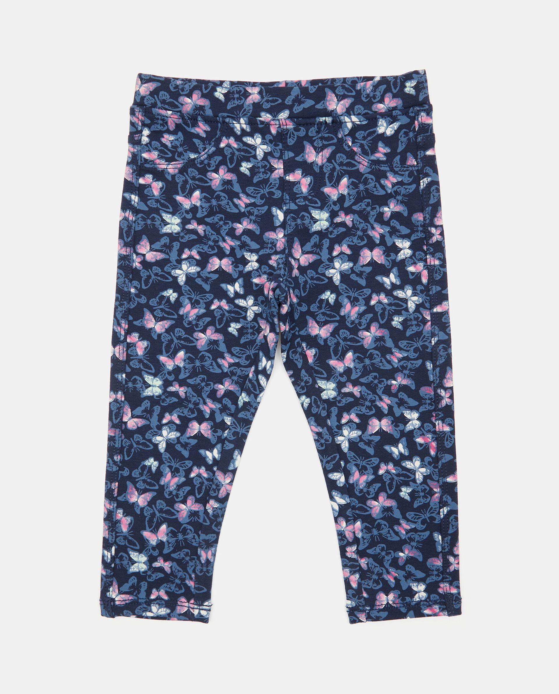 Pantaloni in cotone elasticato con fantasia farfalle neonata
