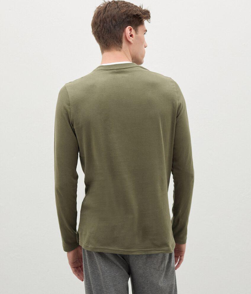 Maglia del pigiama in puro cotone con scollo a V uomo double 2