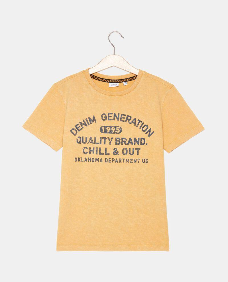 T-shirt in cotone organico jersey lavaggio stone ragazzo