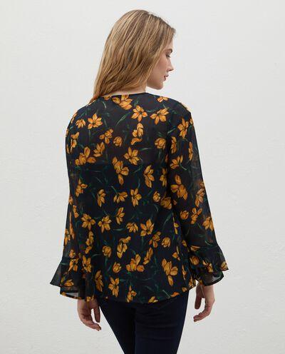 Camicia crepe con maniche volant al fondo donna detail 1