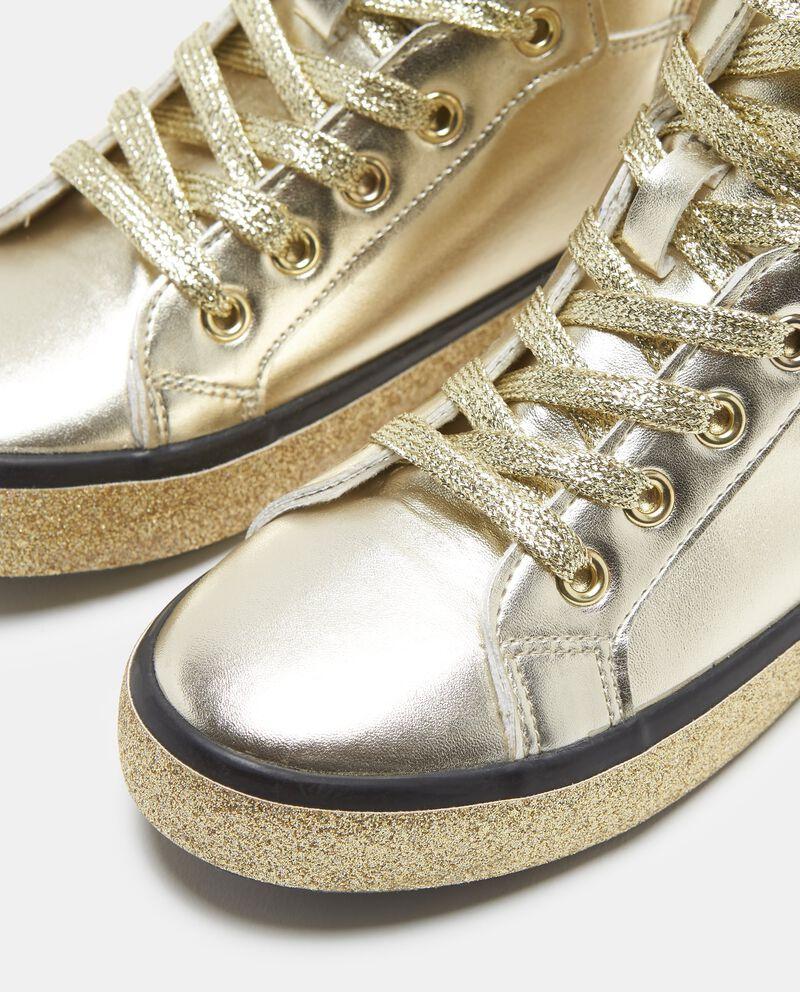 Sneakers alte effetto dorato lacci glitter