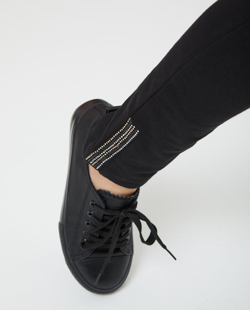 Pantaloni stretch strass alle caviglie