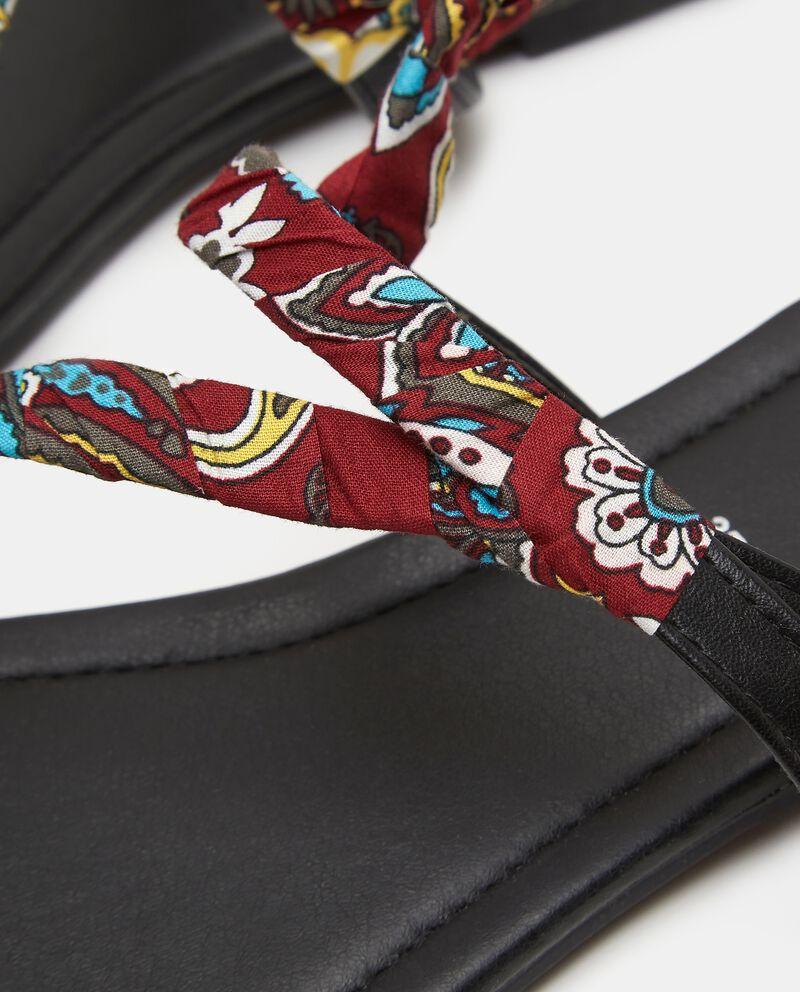 Sandalo basso con nastro stampato donna single tile 1