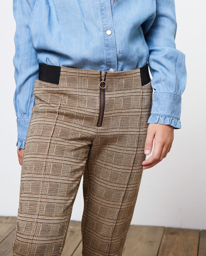 Pantaloni stretch con lurex a quadri