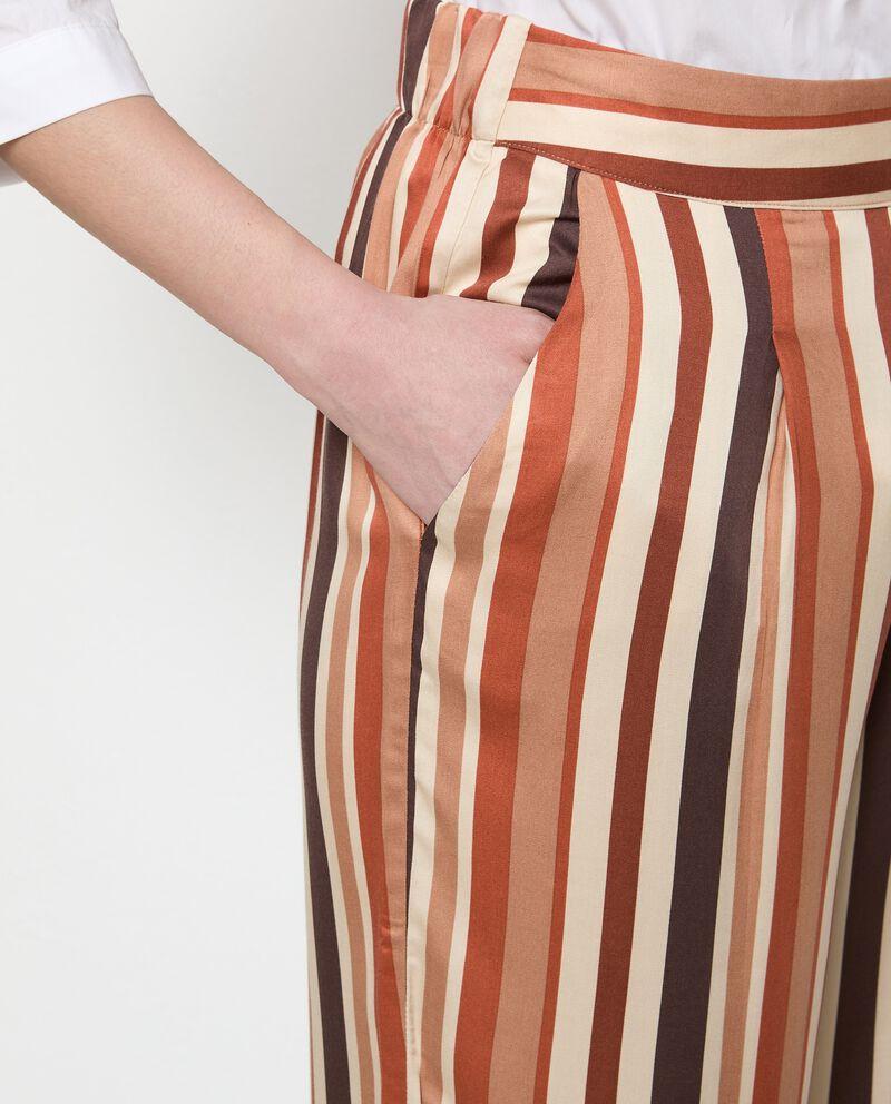 Pantaloni a righe palazzo in pura viscosa donna single tile 2
