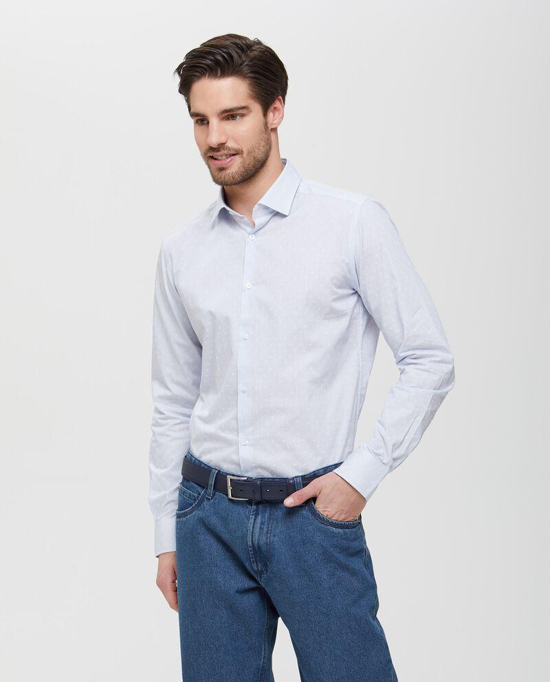 Camicia in puro cotone a righe con micro fantasia uomo