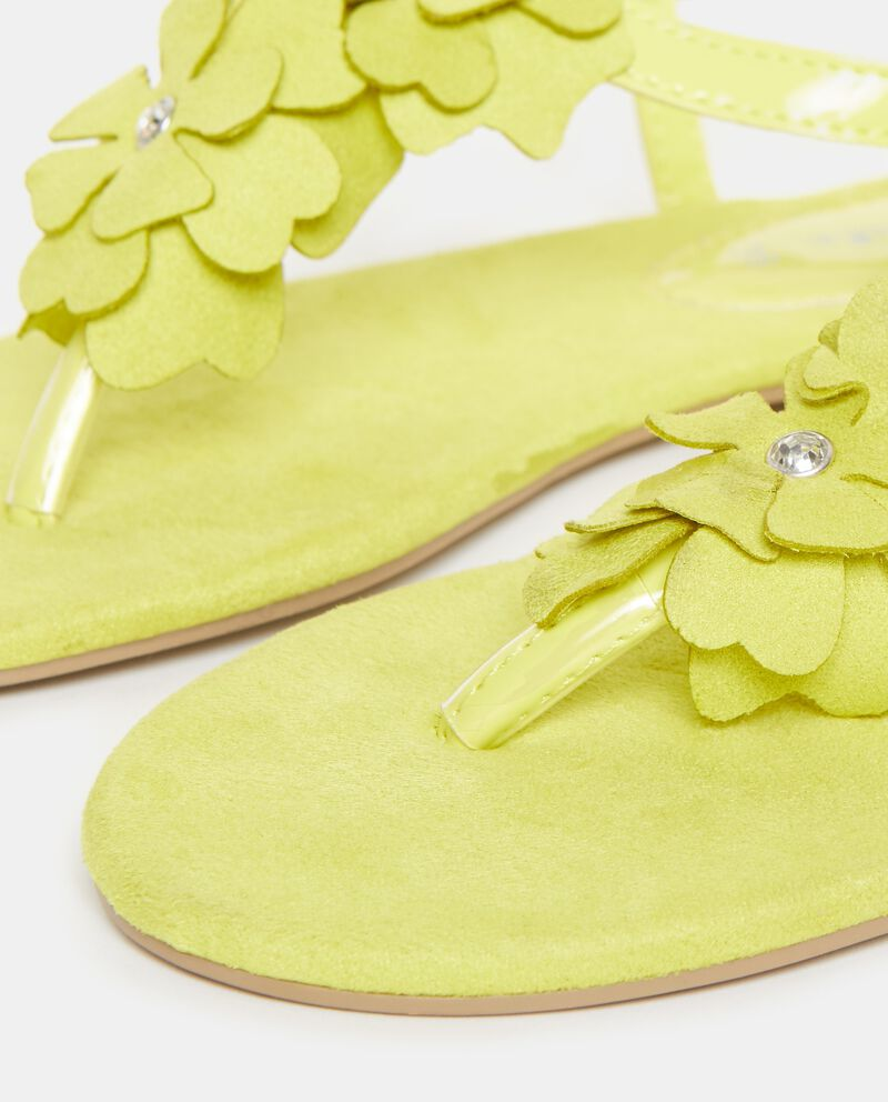 Sandali gialli con fiori e strass applicati donna