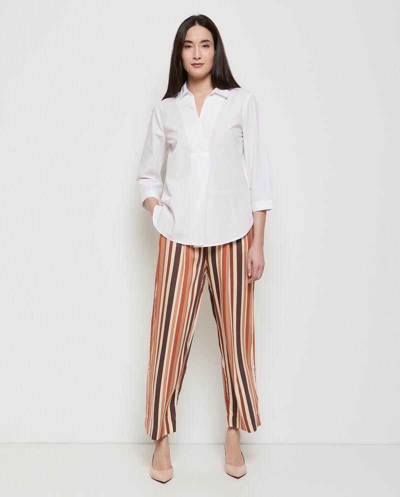 Pantaloni a righe palazzo in pura viscosa donna cover
