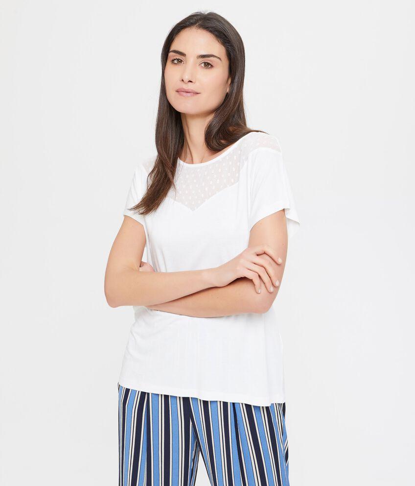 T-shirt in viscosa con inserto in velo