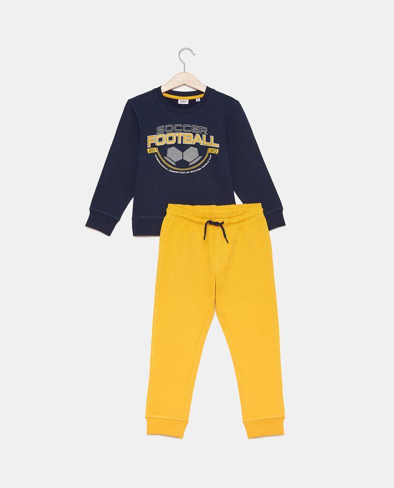 Set jogging in puro cotone con felpa e pantaloni bambino