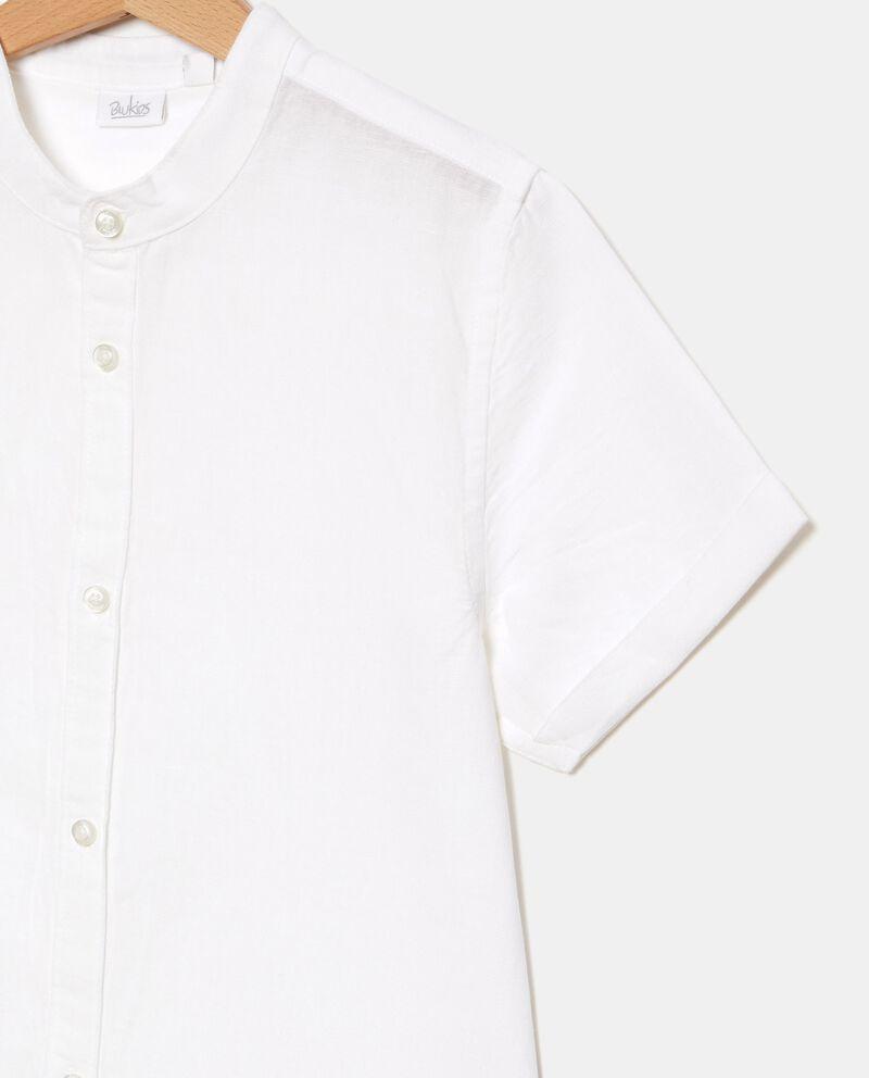 Camicia a maniche corte in cotone misto lino ragazzo